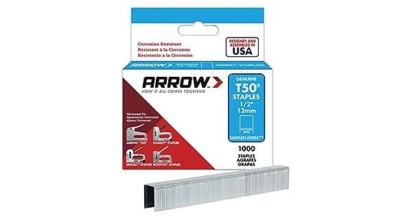 Amazon.com: Arrow T50 Caja de grapas (1000 unidades): Home ...
