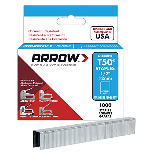 Arrow Fastener 508SS1 Genuine T50 1/2-Inch Stainless Staples, 1,000-Pack (T50 Arrow Staples Box)