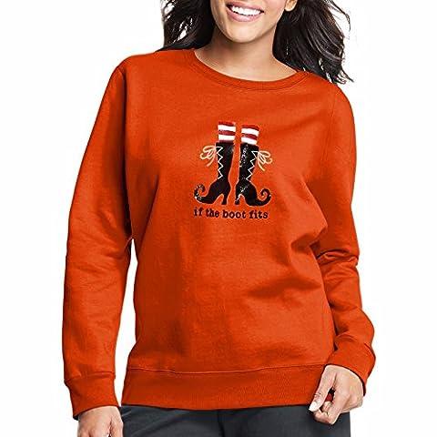 Just My Size EcoSmart Women's Plus Halloween Fleece Sweatshirts, Orangeade-Boot, 2X (Themed Sweaters)