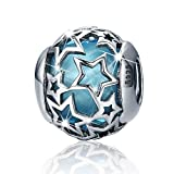 BAMOER Fancy Night of Star Sterling Silver Crystal Bead Charm Fit European Bracelet