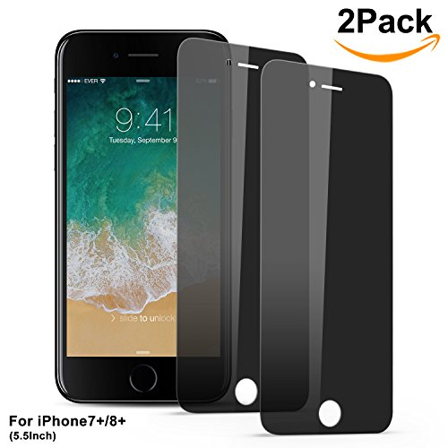 Bestfy iPhone 7 Plus/ 8 Plus Privacy Screen Protector, [Anti-Spy] [Anti-Scratch] [Easy Installation] Tempered Glass Screen Protector for iPhone 7 Plus/ 8 Plus (2 Pack, Black)