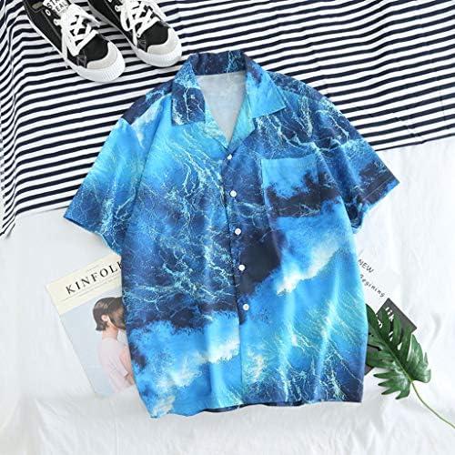 SKYLULU✿Mens Striped Splicing Pattern Casual Blouse Tops Lapel Short Sleeve Shirt