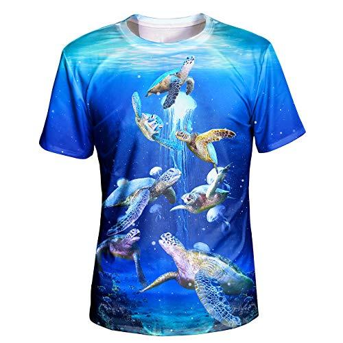 Asylvain Unisex 3D Realistic Printed Sea Animal Blue Design Short Sleeve Tee Shirts, XX-Large