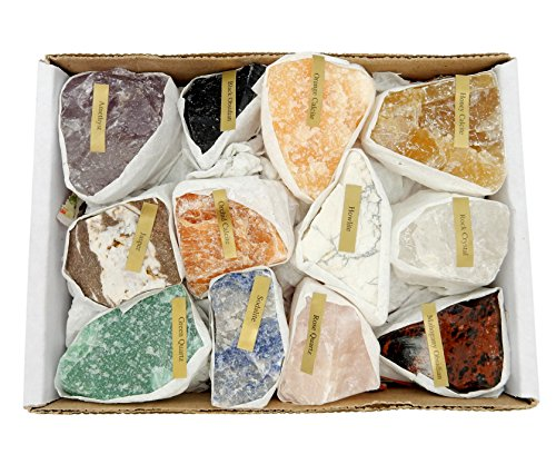 Natural Gemstone Mix 1.5-2 lbs Full Box Approx. 10-15 pieces - Mixed Gemstone Clusters - Rough Stones - Piece 2 Usa Rock Glass