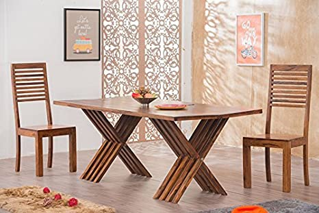 Mamta Decoration Solid Wood Leh Dining Table Set 6 Seater