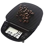 Digital Kitchen Scales Portable Coffee Scale with Timer Food Weight Scale 0.1g 3kg (Black)