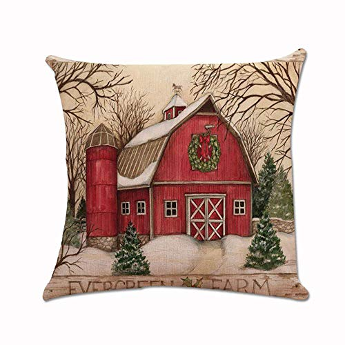 Evergreen Farm Christmas Pillow Cover