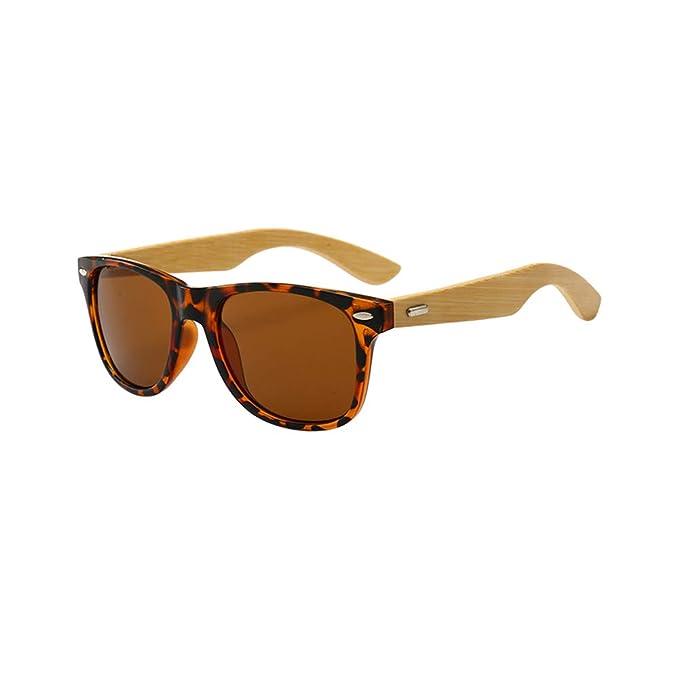 Deylaying Montura de madera unisex Gafas de sol ligeras ...