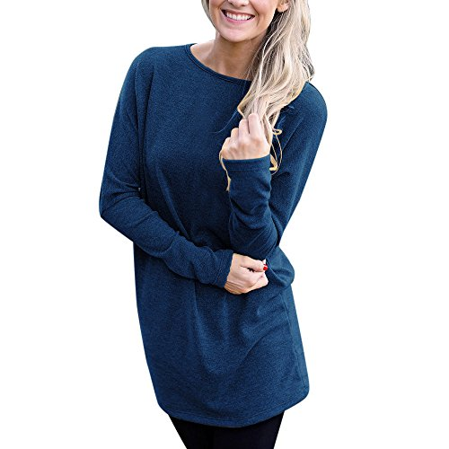 Women Casual Long Sleeve Solid Loose T-Shirt Blouses Tops -