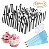 #4: Piping Nozzle Set for Cake Decorating, AINEED 58 Pieces Nozzles Kit with 3 Reusable Piping Bags, 3 Couplers for Cakes Cupcakes Decorating, Cookies Pastry Cakes Cupcakes Making Tools (Stainless Steel)
