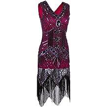 MsJune 1920s 1950s Vintage Gatsby Bead Sequin Art Nouveau Deco Flapper Dress