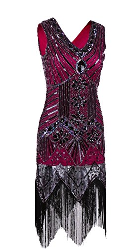 [MsJune 1920s Gatsby Dresses Bead Sequin Art Nouveau Deco Flapper Vintage Dress Wine Red-M] (Gatsby Dress Cheap)