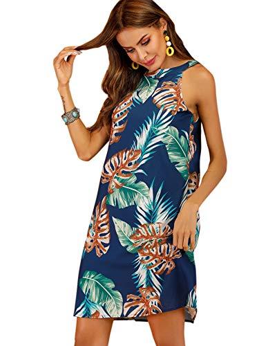 (Floerns Women's Summer Tropical Print Sleeveless Party Dress Navy-3 S)