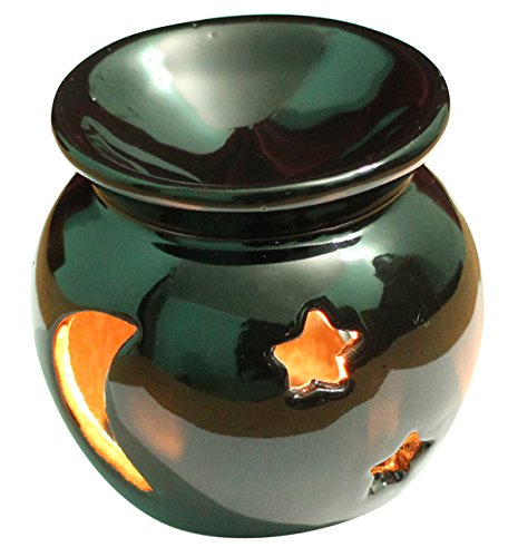 Thanksgiving Offers - Ceramic - Essential Oil Burner, Perfect Handmade Oil Diffuser for Fragrance & Aromatherapy - Great Decoration for Living Room, Balcony, Porch & Garden (Black)