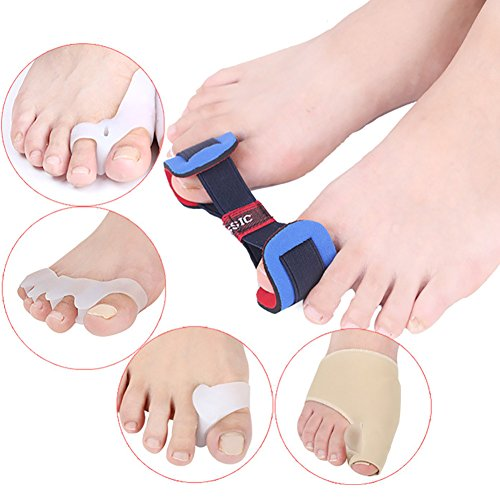 Bunion Corrector 5 Pieces Set - Relieve Pain in Hallux Valgus, Tailors Bunion, Big Toe Joint, Hammer Toe, Toe Separators Spacers Straighteners splint Aid surgery treatment by Mai Yi