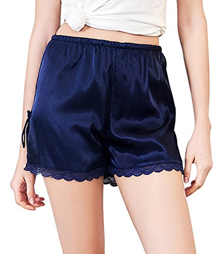 Edith qi Women's Satin Lace Shorts,Pettipants Lingerie Culotte Sleep Lounge Slip Bloomers Split Skirt Navyblue