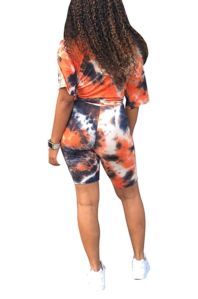 Bluewolfsea Women Casual Tie Dye 2 Piece Outfits Summer Short Sleeve T-Shirts Tops and Shorts Set Clubwear