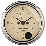 "Auto Meter 1885 Antique Beige 2-1/16"" 12 Volt Short Sweep Electric Quartz Movement Clock with Second Hand"