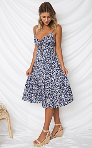 Down Blue Line Spaghetti Strap Neck Navy ECOWISH A Dress Tie Backless Summer Button Midi Swing Womens Dresses V 2 Front 7UvSAqw