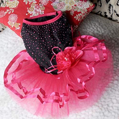 LVYING Cute Pet Dog Cat Princess Polka Dot Flower Bow Clothes Party Dresses Tutu Dress Lace Skirt]()