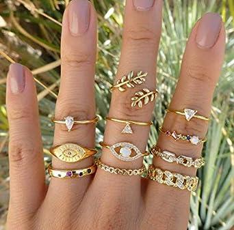 11pcs Silber Gold Boho Stack Plain über Knuckle Ring Midi Fingerringe Se Heiß