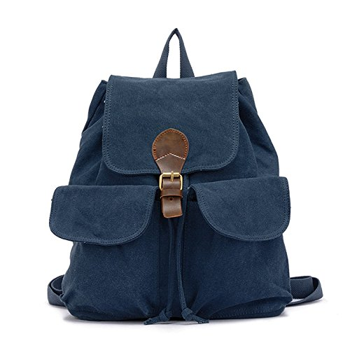 blue Backpack Lady Backpack Backpack Double Student Korean Canvas Casual XIAOLONGY 1BfwA