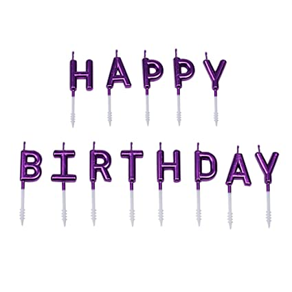 Willcan Purple Color Happy Birthday Candles Cake Toppers13 Molded Letter For Party