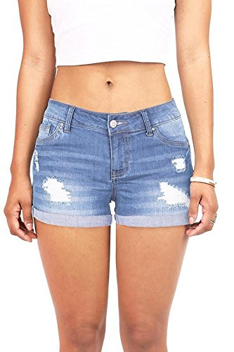 - Wax Women's Juniors Body Enhancing Denim Shorts (S, Light Dn)