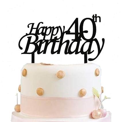 Fabulous Happy 40Th Birthday Cake Topper Black Birthday Party Decoration Birthday Cards Printable Inklcafe Filternl