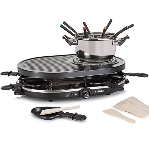 Vitinni Raclette 8 Person Party Grill & Griddle Set with Stone Hot Plate...