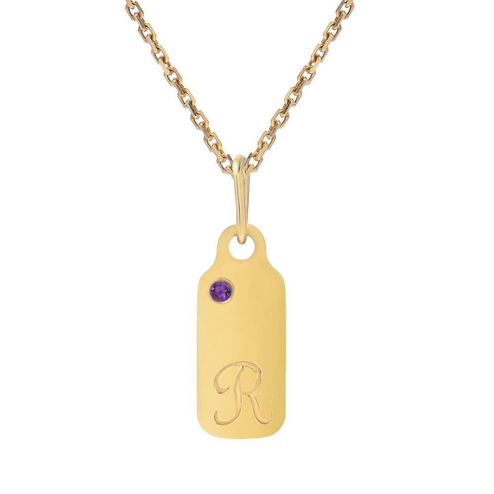 14k Gold Amethyst February Birthstone Cursive Letter R Dog-tag Necklace