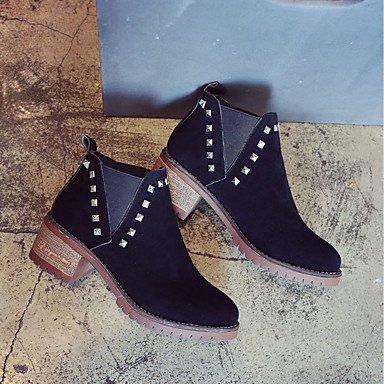 Dedo Casual Bajo el amp;M Tobillo Mujer Invierno PU black Remache Tacón Otoño Puntiagudo Hasta Botas Heart Negro Zapatos de Combate Botas Para Botines 7RPawqndx