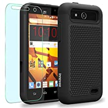 ZTE Maven / Overture 2 / Z810 / Z812 / Z813 Case, INNOVAA Smart Grid Defender Armor Case W/ Free Screen Protector & Touch Screen Stylus Pen - Black