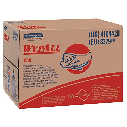 Wypall X80 Reusable Wipes (41044), Extended Use Cloths BRAG Box Format, White, 160 Sheets/Box; 1 Box/Case ()