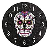 ALAZA Home Decor Mexican Sugar Skull Black Round Acrylic Wall Clock Non Ticking Silent Clock Art for Living Room Kitchen Bedroom