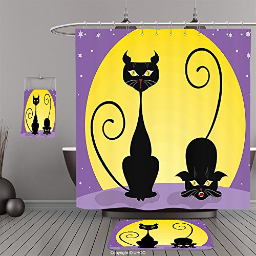 Uhoo Bathroom Suits & Shower Curtains Floor Mats And Bath TowelsCat Decor Two Black Kitties in front of Full Moon Starry Night Halloween Image Violet Yellow BlackFor Bathroom