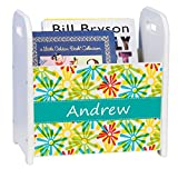 Personalized Starburst White Book Caddy and Rack