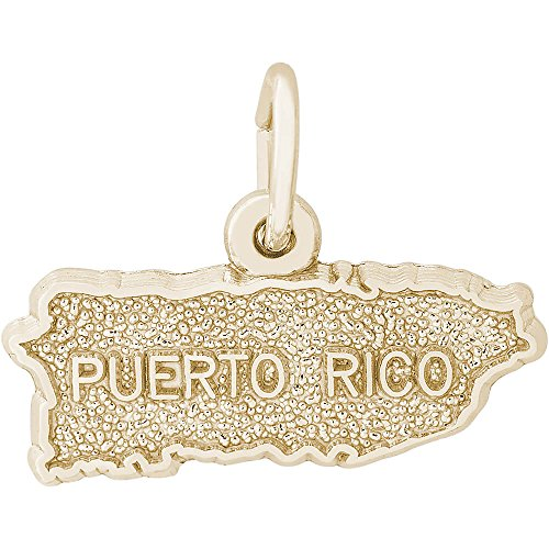 Rembrandt 10K Yellow Gold Puerto Rico Map Charm (18.5 x 6.5 mm)