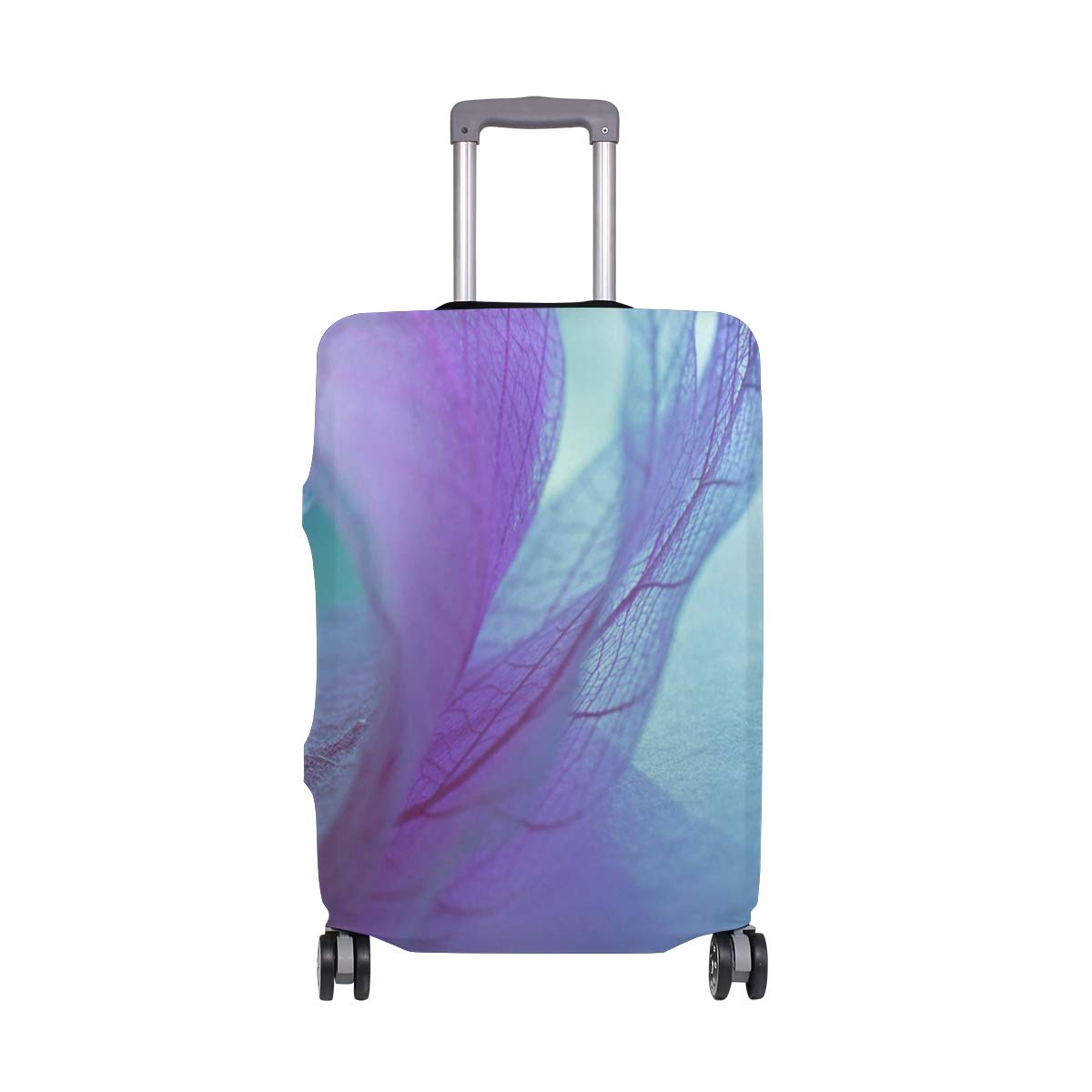 Travel Luggage Cover Transparent Leaf Vein Abstraction Pink Suitcase Protector Fits 18-20 Inch Washable Baggage Covers