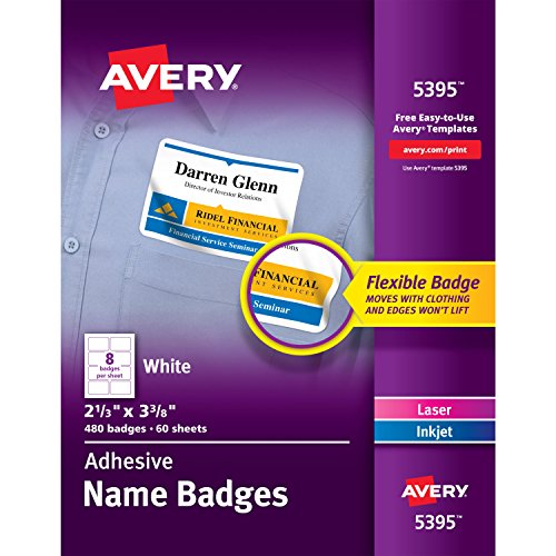 Avery Self-Adhesive Name Tag, No Curl Flexible Name Badge, Box of 480 (Template 05395)