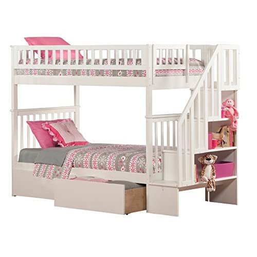 Low Cost Atlantic Furniture Woodland Staircase Bunk Bed With Flat