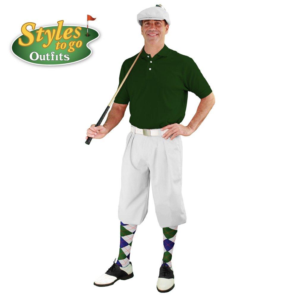 メンズゴルフOutfit – ホワイト、ダークグリーン、&ネイビーゴルフKnicker Complete Outfit B06X94VWY9 Shirt Size - X-Large ウエストサイズ-52 ウエストサイズ-52 Shirt Size - X-Large