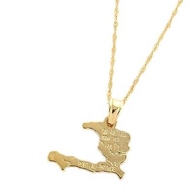 Amazon haiti map necklace pendants for women necklace real gold haiti map necklace pendants for women necklace real gold plated jewelry gifts map of haiti aloadofball Image collections