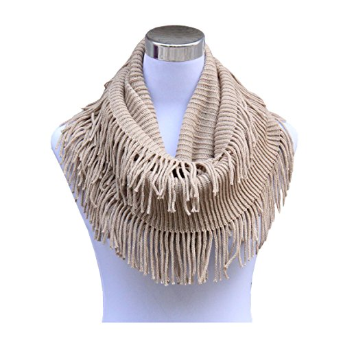 Lucky Leaf Women Winter Thick Knitted Woolen Yarn Infinity Scarf Circle Loop Scarves (Khaki 1)
