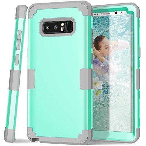 Galaxy Note 8 case, PIXIU Heavy Duty Shockproof Hybrid High Impact Hard Plastic+Soft Silicon Rubber Protective Cases for Galaxy Note 8 6.3 inch 2017 Release Mint Green