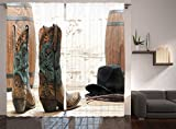 Cheap Ambesonne Western Decor Collection, American Rodeo Cowgirl Design Leather Boots with Fancy and Rustic Picture, Window Treatments, Living Room Bedroom Curtain 2 Panels Set, 108 X 84 Inches, Brown Teal
