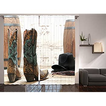 Ambesonne Western Decor Collection, American Rodeo Cowgirl Design Leather Boots with Fancy and Rustic Picture, Window Treatments, Living Room Bedroom Curtain 2 Panels Set, 108 X 84 Inches, Brown Teal