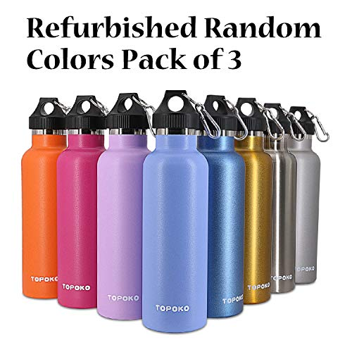 Refurbished TOPOKO 25 OZ Double Wall Insulated Water Bottle. Cleaned and Sanitized with Minor Cosmetic Defection and No Original Packaging. Random Colors Pack of 3.