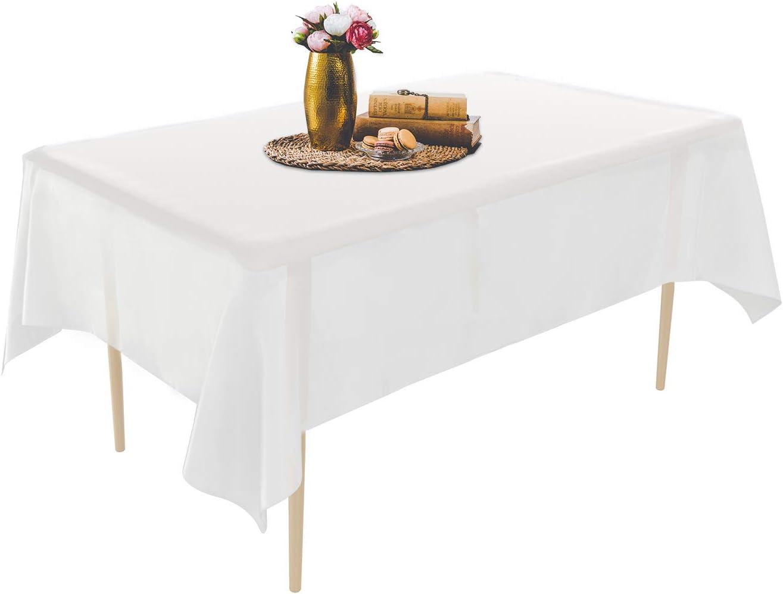 Puricon 6 Unidades Mantel Plástico Desechable 1,37 × 2,74 m, Cubierta Plástica de Mesa Rectángula para Bufé, Fiesta, Cena, Boda, Picnic y Más -Blanco
