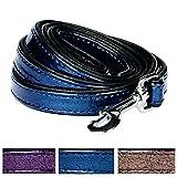 Blueberry Pet 3 Colors Faux Leather Snake Print Dog Leash 5 ft x 3/4